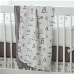 Mist and Gray Owls crib blanket